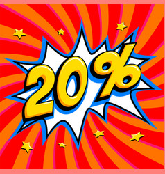 Red sale web banner sale twenty percent 20 off on vector