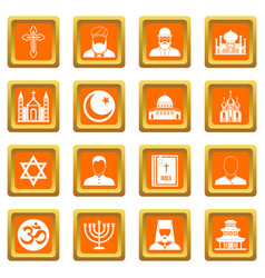 religious symbol icons set orange vector image vector image