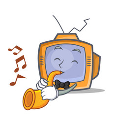 Tv character cartoon object with trumpet vector