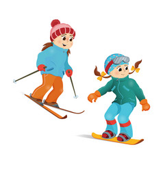 two girls in warm clothes snowboarding and skiing vector image vector image