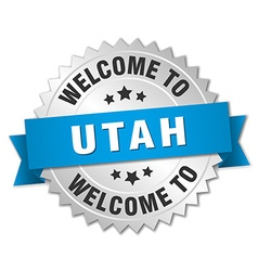Utah 3d silver badge with blue ribbon vector
