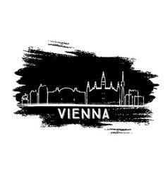 Vienna skyline silhouette hand drawn sketch vector