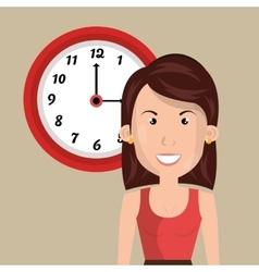 Woman clock cup coffee vector