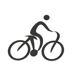 Human figure silhouette bicycle icon vector