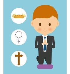 Bread cross rosary boy kid cartoon icon vector