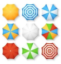 Beach sun umbrellas top view icons vector image