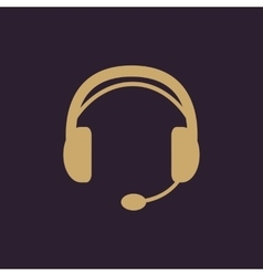 The headset icon Support symbol Flat vector image