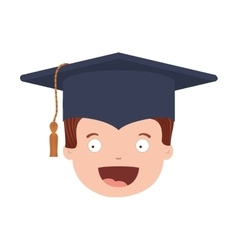 Front face avatar boy with graduation outfit vector