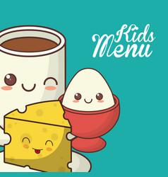 Kids menu nutrition diet food vector