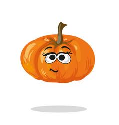 smiling pumpkin cartoon mascot character vector image