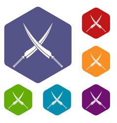 Samurai swords icons set hexagon vector