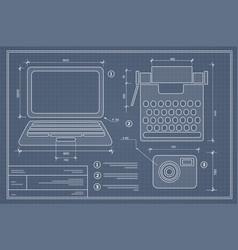 Blueprint plan outline draft personal computer vector