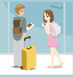 happy young couple with bags at airport vector image