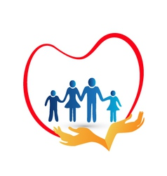 Family love protected by hands logo vector image