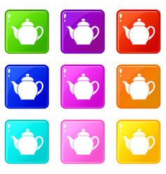 Teapot icons 9 set vector