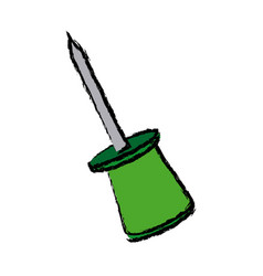 Push pin object school element icon vector