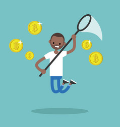 Young black character mining bitcoins conceptual vector