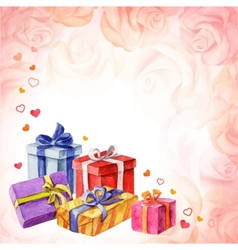 Gifts for valentines day on a pink background with vector