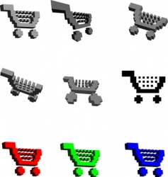 3d shopping carts vector image
