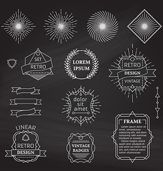 Set of chalk linear design elements vector