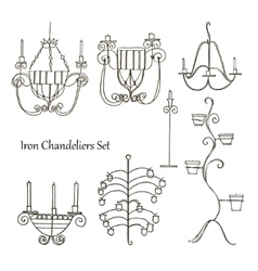 Iron chandeliers set vector
