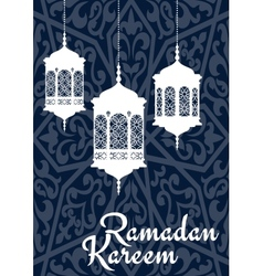 Ramadan kareem greeting card with oriental vector