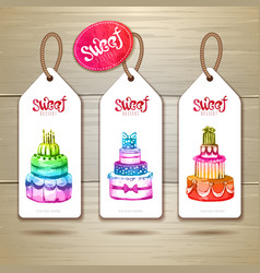 Set of art cake or dessert banners vector