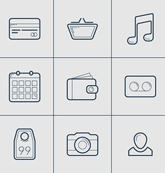 Set of modern thin line icons shopping camera tag vector