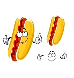 Cartoon hot dog character with ketchup vector