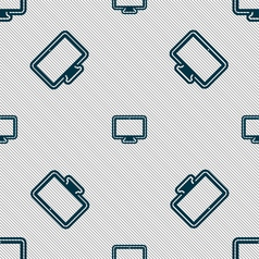 Monitor icon sign seamless pattern with geometric vector