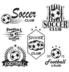 Vintage emblems labels football icons soccer vector