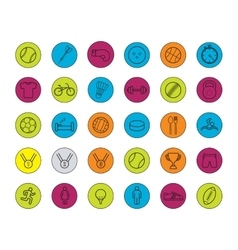 Active sport games color linear icons set vector