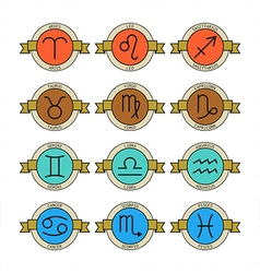 Badges and labels with zodiac signs for horoscopes vector