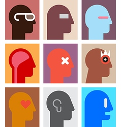 human heads 9 vector image
