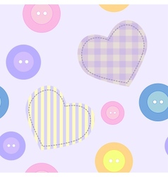 Background with hearts and buttons vector