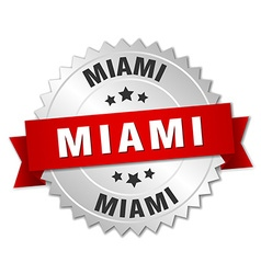 Miami round silver badge with red ribbon vector