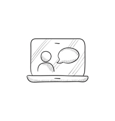 Online education sketch icon vector
