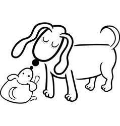 Puppy and dog mom for coloring vector