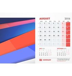August 2016 desk calendar for 2016 year stationery vector