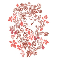 Autumn Girl with Floral4 vector image vector image