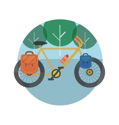 Bicycle near the trees Bicycle tourism vector image