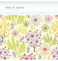 Blossoming trees horizontal torn frame seamless vector image