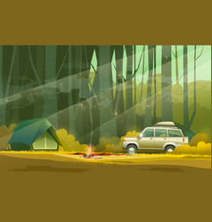 Camp and car in forest vector