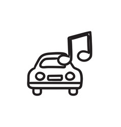 Car with music note sketch icon vector