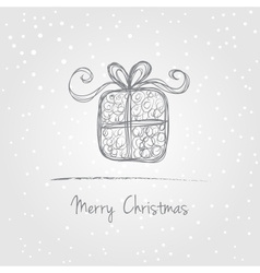Christmas gift doodle vector image vector image
