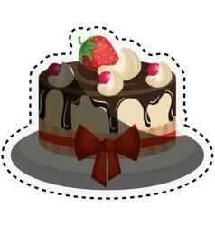 Delicious cake birthday card vector