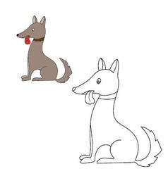 dog sits Coloring vector image