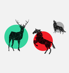 Flat geometric icons with deer horse wolf vector