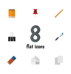 flat icon tool set of pencil rubber pushpin and vector image