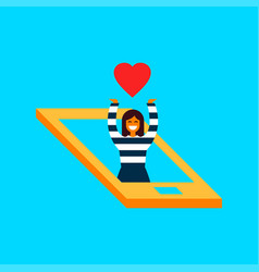 Girl in social media network phone love concept vector